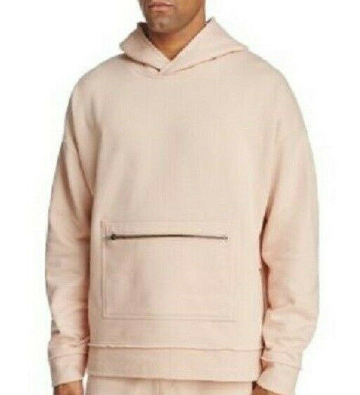 THE NARROWS pink Pink Raw Edge Shawl Collar Hooded Sweatshirt Hoodie NEW