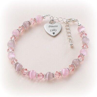 Personalizado Pulsera de cuero rosa del encanto del corazón con grabado gratis y Caja de Regalo