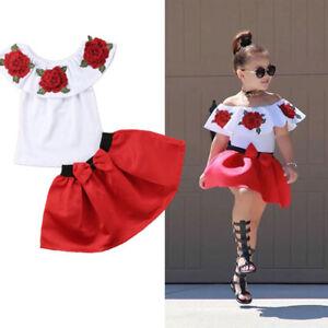 6f0955b68e UK Kids Baby Girl Off Shoulder 3D Rose Flower Cotton Top Dress Skirt ...