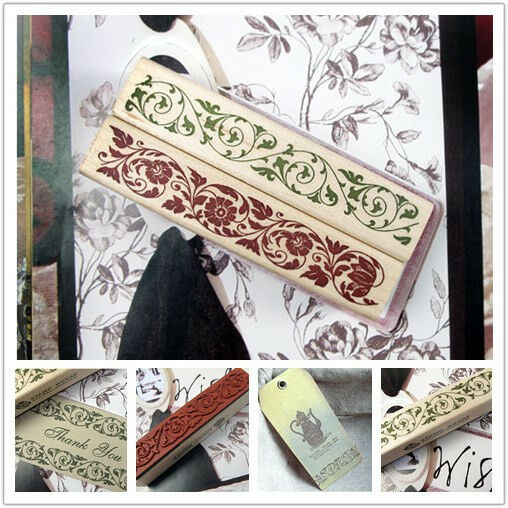 New Korean Classical nostalgia Lace corner Wooden Rubber Stamp
