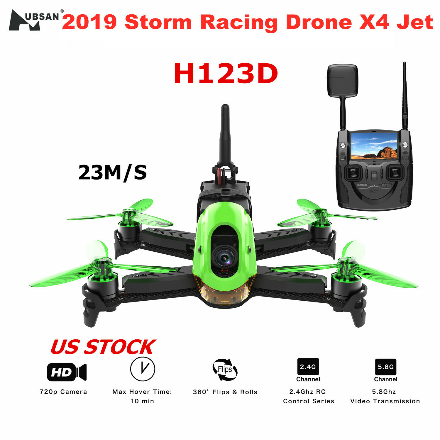 2019 Hubsan H123D X4 Jet Storm Racing Drone Brushless FPV 720P Quadcopter RTF US