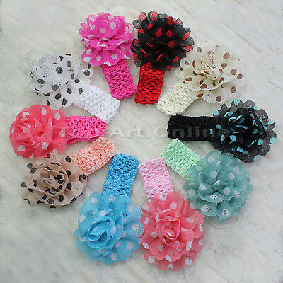 10 Baby Girl Dot Chiffon Flower Hairbow Headband Head  Band Accessory 10 Colors
