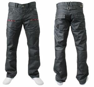 Brand-New-Mens-Enzo-Designer-Black-Jeans-Straight-Leg-Casual-Denim-Pants-Trouser