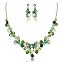 Green Wedding Bridal Bowknot Austrian Crystal Necklace Jewellery Set Gift Box
