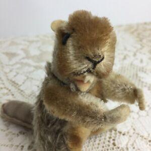 Vintage-Steiff-Beaver-Nagy-4-Mohair-Wool-Felt-Open-Mouth-Jointed-Miniature-Prim