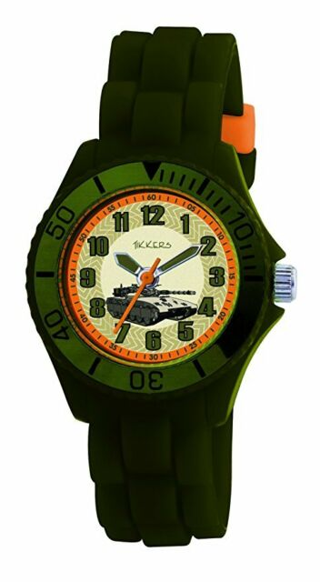 Tikkers TK0027 Boys Green Rubber/Silicone Strap Army Tank design Watch