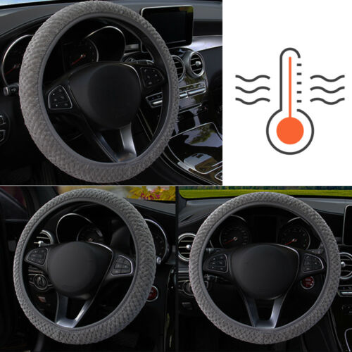 1x Car Auto Steering Wheel Cover Excellent Gray Comfort Unique Winter Warmer Set