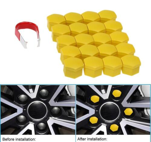 17mm YELLOW Wheel Nut Covers with removal tool M18//02
