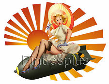 Vintage Style Bomber Girl Pinup Waterslide Decal Great for guitars & more S277