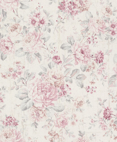 2,29£//1qm Wallpaper vintage floral cream white rose 516029 Rasch Souvenir
