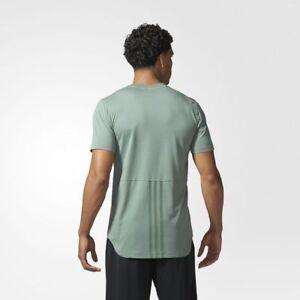 BRAND-NEW-45-Adidas-Men-039-s-Essentials-Droptail-3-Stripes-Tee-BQ1547-Green-Gray