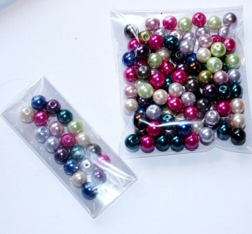 8mm Glass Pearl Beads Mix Colours Buy 100 Get 20 Free Buy 200 Get 50 Free