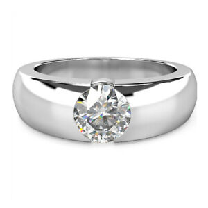 1.00 Ct Round Solitaire Moissanite Engagement Ring 18K Solid White Gold Size 4 5