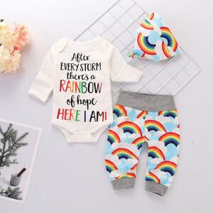 a854e38ea2e Infant Baby Girl Boy Rainbow Romper Tops Jumpsuit Pants Hat Outfits ...