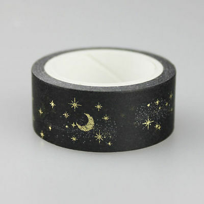 Japanese Moon Stars Washi Paper Masking Tapes Adhesive Decorative Tape 15mmX 5m
