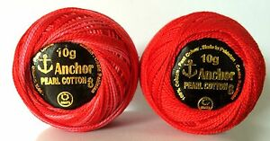 3 x RED Anchor Crochet Cotton sewing Embroidery Thread Balls *Size no.8