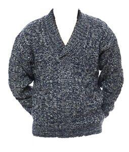 Mens-M-L-XL-New-Shawl-Collar-Jumper-Warm-Wool-Acrylic-Mix-Pullover-Blue-Grey
