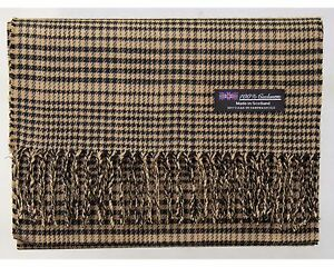 New-100-Cashmere-Scarf-Brown-Flannel-Check-Plaid-Soft-Scotland-Wool-R50-Men