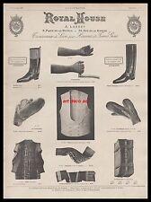 Publicité ROYAL HOUSE clothings men botte équitation  vintage print ad 1899 -3h