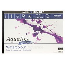 Daler Rowney Aquafine Watercolour A3 Pad TEXTURE 12 Sheets 140lb / 300gsm