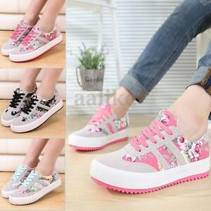 Women-Floral-Canvas-Lace-Up-Sneakers-Flat-Athletic-Sport-Plimsoll-Casual-Shoes
