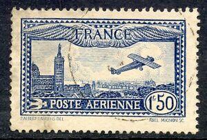 STAMP-TIMBRE-DE-FRANCE-POSTE-AERIENNE-OBLITERE-N-6-AVION-SURVOLANT-MARSEILLE