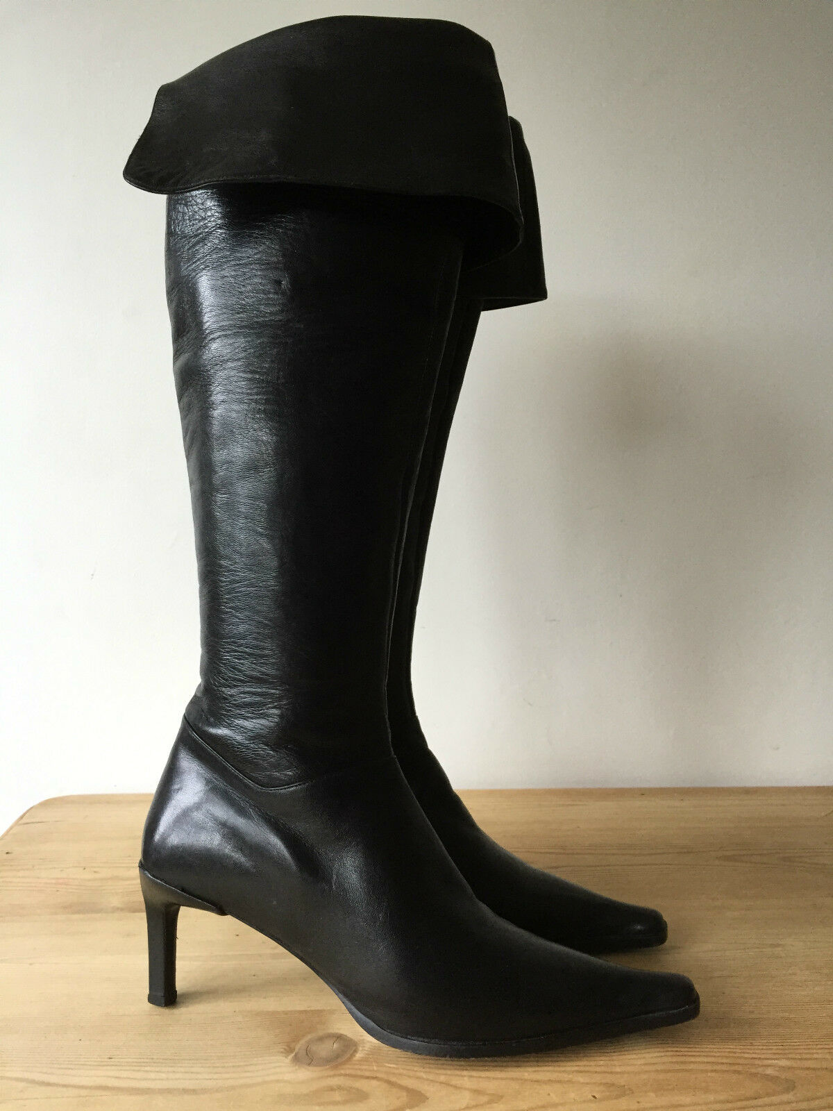HABILLE LADIES BLACK LEATHER KNEE HIGH/OVER THE KNEE Stiefel UK4