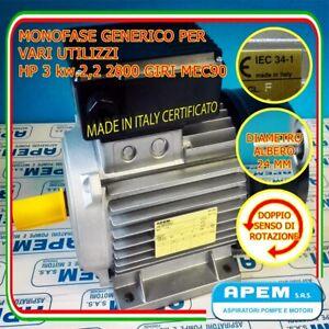 MOTORE ELETTRICO 3 HP COMPRESSORE MONOFASE  ITALIANO! 2800 giri 2,2 kw NUOVO!!!