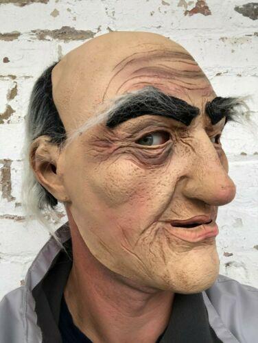 Old Man Bald Head Mask Latex Bad Grandpa Grandad Fancy Dress Stag Party Grey