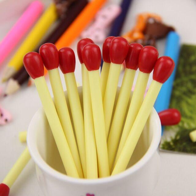 Matchstick Shape Blue Ink Ballpoint Pens 20PCS Mini Cute School Office Supplies-
