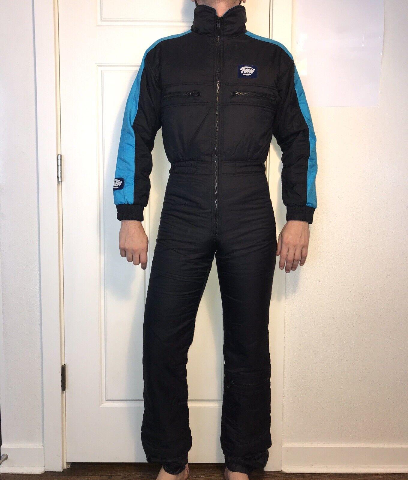 Vtg Vtg Vtg 70s 80s TWN damen MEDIUM One piece SKI SUIT Snow Bib Snowsuit Neon Blau M 1af4ee