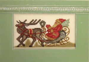 HINZEIT-Cross-Stitch-Chart-with-1-Crystal-and-1-Charm-VINTAGE-SANTA-SLED
