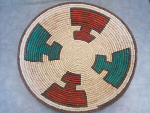 Handwoven from Yucca Southwestern Design Basket Adobe, Turquoise Natural 14+ in