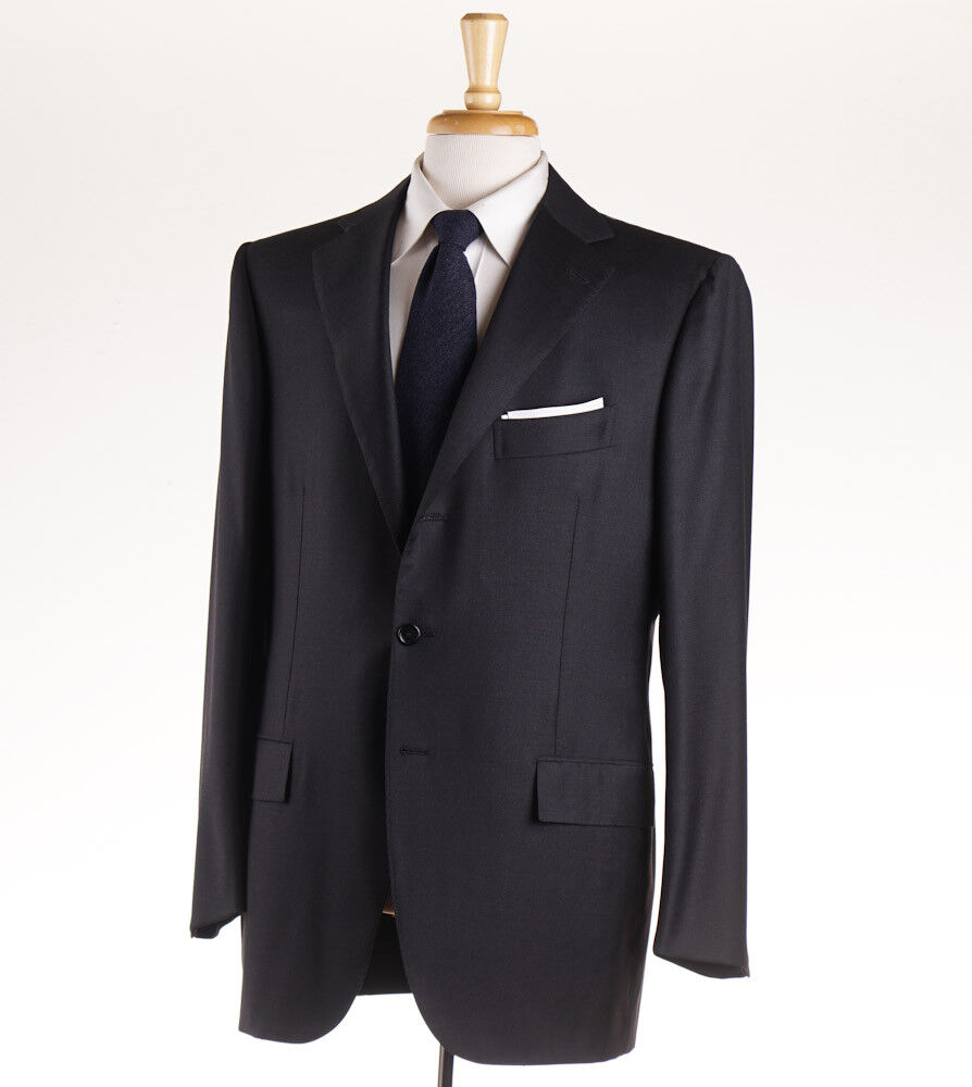 NWT 6400 CESARE ATTOLINI Solid Charcoal grau Wool Suit Slim 46 R (Eu 56)