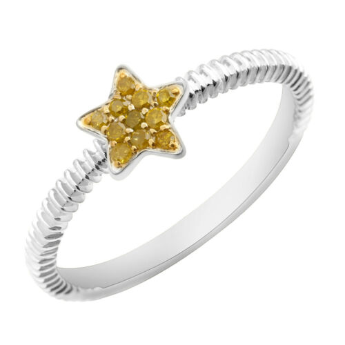 Prism Jewel 0.08 Carat Round Brilliant Cut Yellow Color Diamond Star Shaped Ring