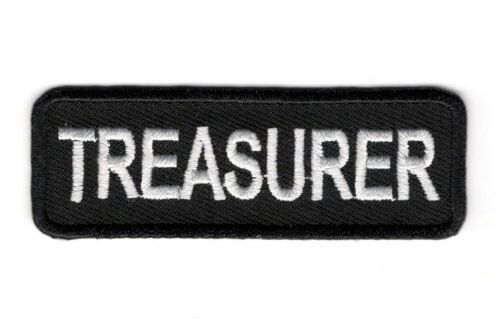 BRAND NEW TREASURER MOTORCYCLE BIKER CLUB IRON ON PATCH