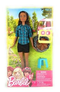 Barbie-Camping-fun-African-american-Playset-Campfire-Lights-Up-Brand-New