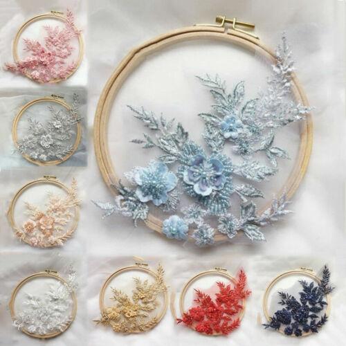 3D Pearl Blume Spitze Stickerei Aufnäher DIY Bridal Applikation Hochzeitskleid