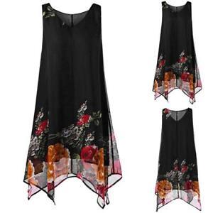 Women-Plus-Size-S-5XL-Floral-Print-Chiffon-Sleeveless-Irregular-Hem-Mini-Dress