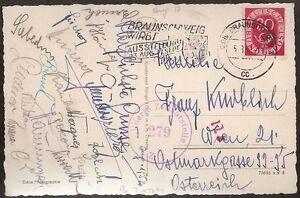 s1667) Österreich Autogrammkarte Fussball B-Team AK aus Braunschweig August 1952