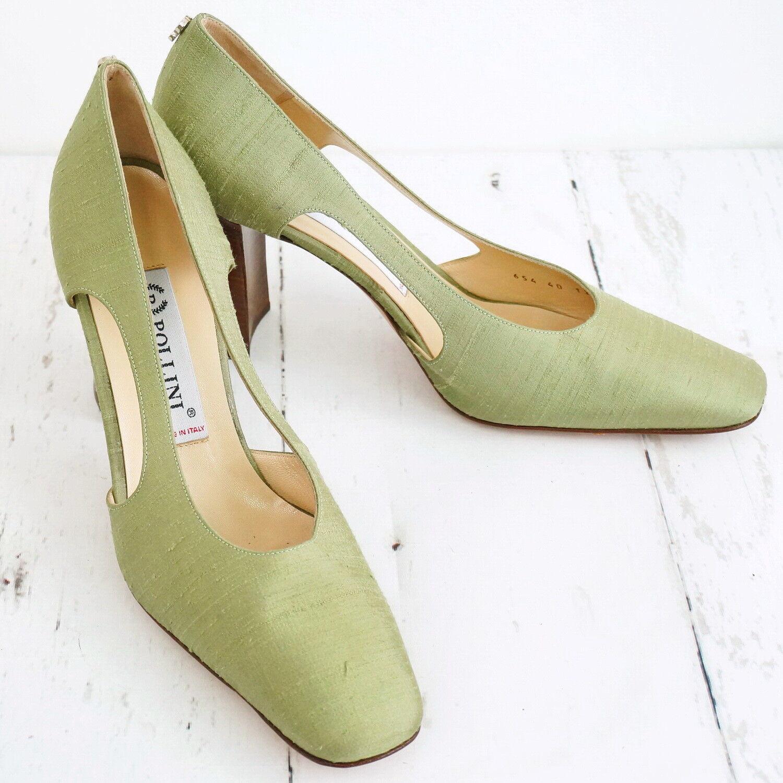 Neuwertig  ☀ POLLINI ☀ Damen Pumps Gr. & 40 Seide & Gr. Leder Woman Schuhes 576503