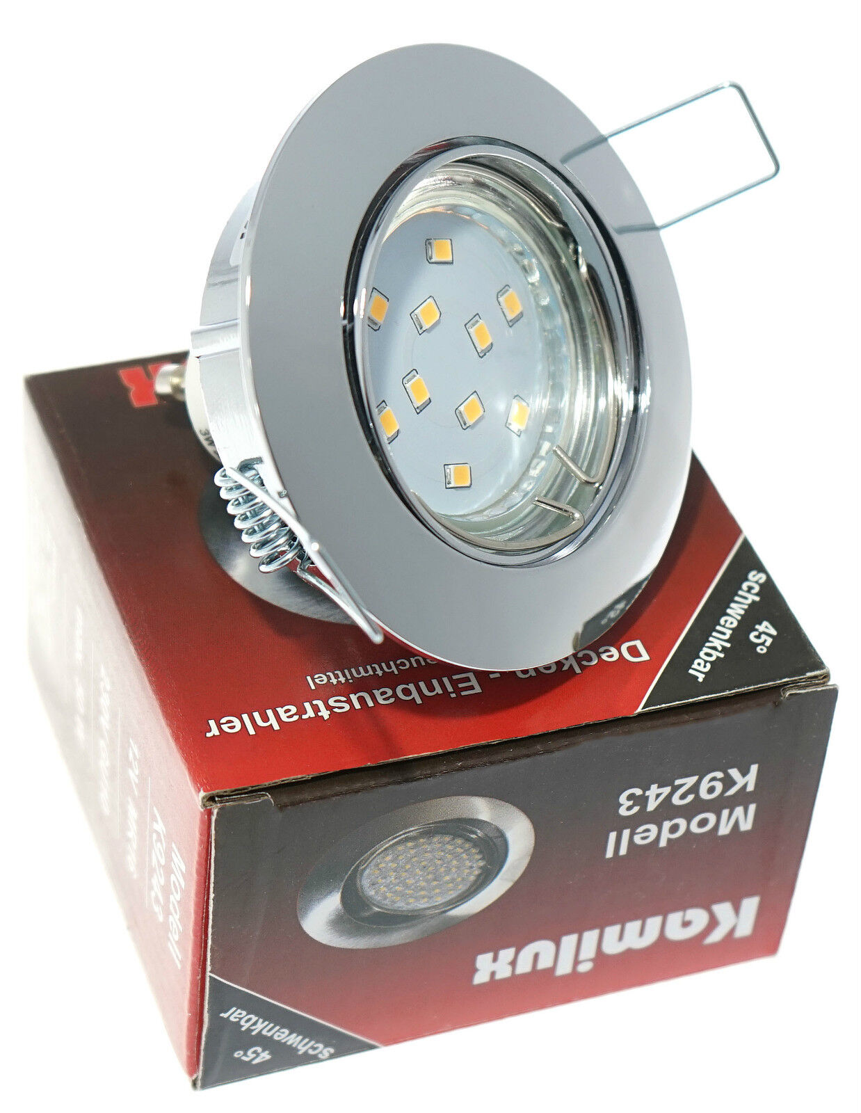 Flureinbaustrahler SMD LED Lisa Chrom Gläntzend 3W = 25W schwenkbar 230V