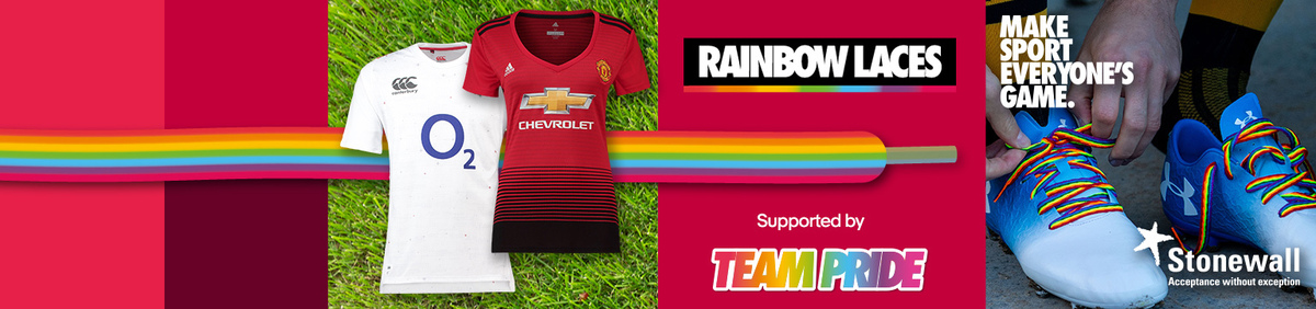 Shop event Make Sport Everyone's Game Support Rainbow Laces: buy your team's kit.