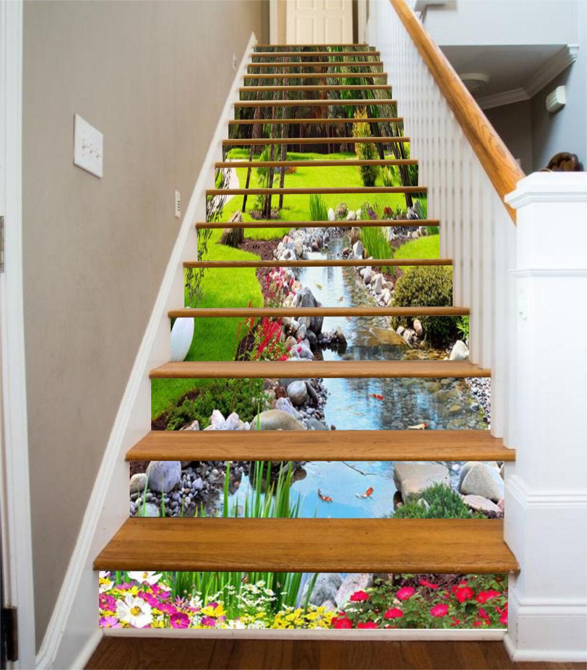 3D Pretty Stream 81 Stair Risers Decoration Photo Mural Vinyl Decal WandPapier UK