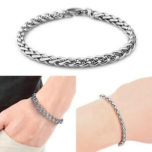 3mm-Stainless-Steel-Silver-Tone-Womens-7-5-034-Spiga-Chain-3mm-Wheat-Bracelet-New