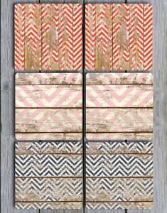 Coasters Grungy Chevrons Distressed Wood Look Non Slip NEOPRENE Set of 6
