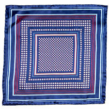 New SANTOSTEFANO Handmade Navy Micro Floral Red Pocket Square Handkerchief $150