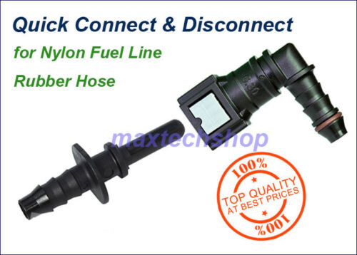 """6.30mm SAE 1//4/"""" 6mm Elbow 90 Degree Nylon Fuel Line Quick Connect Release Hose"""