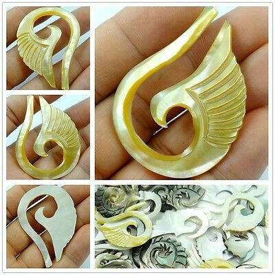 Natural yellow Abalone Shell hand-carved Angel wings Pendant Beads necklace D21