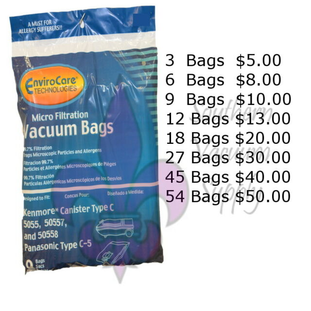 Sears Kenmore Type C Canister Vacuum Bags 5055 50557 and 50558 By EnviroCare